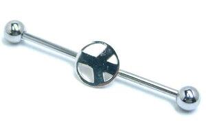 [14G インダストリアル 長いバーベル]ピースマーク ストレートバーベル 14ゲージ ボディピアス サージカルステンレス316L メガバーベル メンズ レディース シャフト 内径が長い ロングバー