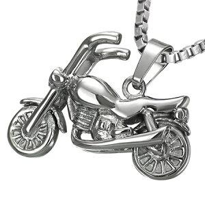 バイクペンダントトップ 単車 オートバイ おもしろ 3D 立体 ユニーク サージカルステンレス ネックレス パーツ メンズ レディース トップ ペア アクセサリー チョーカー