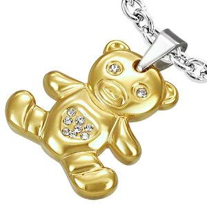 ゴールドベアーステンレスペンダント 金色のくま 熊 ヌイグルミ アニマル 動物 サージカルステンレス316L ネックレス パーツ メンズ レディース トップ ペア ステンレスパーツ アクセサリー