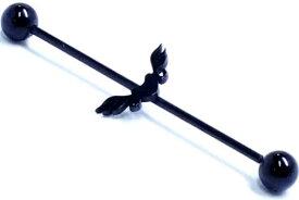 [16G インダストリアル 黒いボディピアス 長いバーベル] ブラックコネクトバーベル(エンジェル) 羽 翼 ウイング 天使 ボディーピアス 16Ga 16ゲージ 細い 黒色 サージカルステンレス316L メガバーベル メンズ レディース 内径 シャフト ストレートバーベル 長い ロング