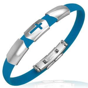 ステンレスシールドクロスブルーラバーブレス 十字架 青色 水色 ゴム サージカルステンレス316L メンズ レディース 腕輪 手首 ペア アクセサリー ウオッチ 時計型 低アレルギー 水に強く錆び