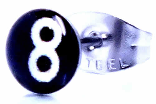 8ボール ステンレスピアスピアス 1個販売 サージカルステンレス316L 20G 20ゲージ メンズ レディース 激安 耳 軟骨 ヘリックス キャッチピアス スタッドピアス プレーン ファーストピアス 丸型 プレーン 数字 ビリヤード エイトボール 黒色 ブラック 白色 ホワイト ナンバー