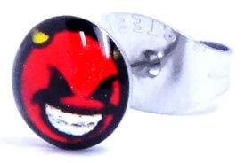 赤鬼ステンレスピアス(黒)/1個販売 おもしろ 鬼 スカル サージカルステンレス 316L 20G 20ゲージ メンズ レディース ペア 金属アレルギー 耳 軟骨 サージカルステンレスピアス サージカルピアス ステンピアス