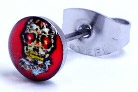 サイバースカルステンレスピアス(レッド)/1個販売 髑髏 ガイコツ赤 サージカルステンレス 316L 20G 20ゲージ メンズ レディース ペア 金属アレルギー 耳 軟骨 サージカルステンレスピアス サージカルピアス ステンピアス