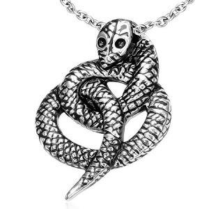 蛇ステンレスペンダント ヘビ スネイク スネーク サージカルステンレス ネックレス トップパーツ メンズ レディース ペア パーツ チョーカー