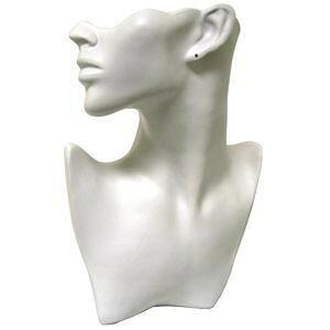 店舗用アクセサリーディスプレイ(ホワイト)白色 顔 上半身 撮影用 ピアス スタンド ネックレス チョーカー ペンダント 耳 胸 体 ディスプレイ マネキン 撮影用 動画用 写真用 大きい マネ