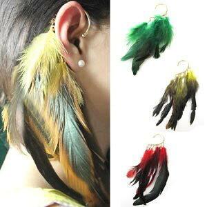 フェザーイヤーフック イーグル イヤーカフ メンズ レディース イヤーラップ 羽根 本物 ボヘミアン インディアンジュエリー 赤色 緑色 黄色 羽のイヤリング 翼 左耳用 右耳用 両耳 大きな羽