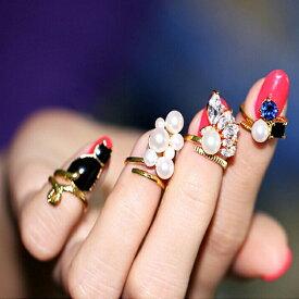 チャーミーネイルリング(4本セット) チップリング ネイル 指先の指輪 爪の指輪 ネイルリング ネコ 猫 真珠 パール キャット ファランジリング フリーサイズ 結婚式 発表会 パーティー 関節の指輪 激安 ゴールド 金メッキ 黒猫 クリスタル サファイア 入学式 レディース 女性