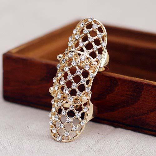 ビジューアーマーリング 指輪 メンズ レディース ペアリング 関節の指輪 ファランジリング チップリング ミディリング フォークリング 曲がる指輪 甲冑 鎧 騎士 ナックルリング おもしろ 個性的 面白い オモシロ フリーサイズ クリスタル ラインストーン ジルコニア 結婚式