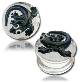パイレックスガラスプラグ(リザード) 1個販売 12mm 12.0mm 12ミリ 14mm 14.0mm 14ミリ 16mm 16.0mm 16ミリ パイレックスガラス ボディピアス メンズ レディース 透明 クリアガラス ハンドメイド 手作り 強化ガラス ボディーピアス おもしろ 面白い トカゲ 蜥蜴