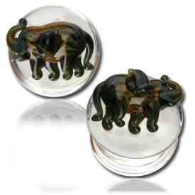 パイレックスガラスプラグ(エレファント) 1個販売 12mm 12.0mm 12ミリ 14mm 14.0mm 14ミリ 16mm 16.0mm 16ミリ パイレックスガラス ボディピアス 象 ゾウ エスニック アニマル 動物 メンズ レディース 透明 クリアガラス ハンドメイド ボディーピアス おもしろ 面白い