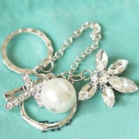 ロザリオパールジョイントリング 指輪 チップリング メンズ レディース フォークリング ミディリング フィンガーリング 十字架 真珠 パール ラインストーン 繋ぐ つなぐ チェーン シルバー アーマーリング 関節の指輪 指先の指輪 結婚式 パーティ 入学式 ウエディング