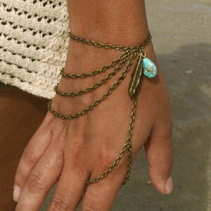 インディアンフィンガーブレスレット フィンガーブレス ブレスレットと指輪をつなぐ メンズ レディース ジョイントリング ファランジリング ターコイズ トルコ石 フェザー 羽根 イーグル