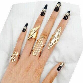 オールバウトファランジリング 4本セット 指輪 チップリング メンズ レディース フォークリング ミディリング フィンガーリング フリーサイズ フェザー 羽 葉っぱ リーフ ゴールド 金色 4個 関節の指輪 指先の指輪 結婚式 パーティ 入学式 卒業式 ウエディング