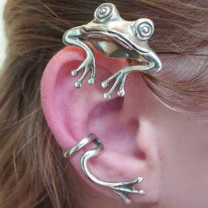 奇妙なカエルのイヤーフック イヤーカフ おもしろ アニマル 3D フィギア 面白 メンズ レディース イヤーラップ フロッグ カエル かえる 蛙 ユニーク 個性的 コスプレ 梅雨 雨 ピアス開けない
