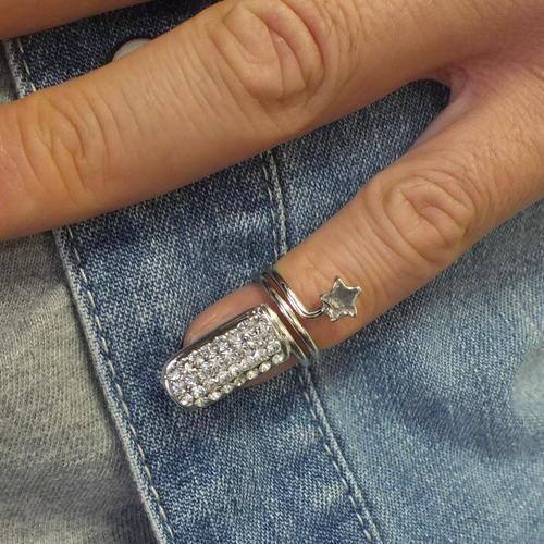 スタービジューネイルリング チップリング ネイル 指先の指輪 爪の指輪 ネールリング 星 シルバー 銀メッキ ゴールド 金メッキ パベ パヴェ クリスタル ラインストーン レディース 女性 大人 04号 結婚式 パーティ 女子会 フリーサイズ ピンキーリング 小指 サイズが小さい