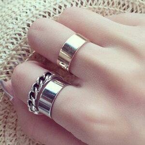 チャンキーファランジリング(3本セット) 指輪 ファランジリング チップリング メンズ レディース フォークリング ミディリング フィンガーリング フリーサイズ 15号 シンプル シルバー 銀メッキ チェーンリング シンプル プレーン 指先の指輪 関節の指輪 結婚式 パーティ