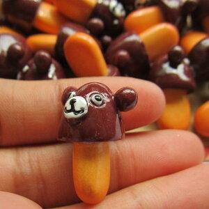 クマチョコアクリルパーツ/1個販売 チョコレート 食玩 おもしろ ユニーク 面白い 個性的 アクセサリー ピアス パーツ プラスティック イヤリング 貼り付け マグネットピアス チャーム 食品