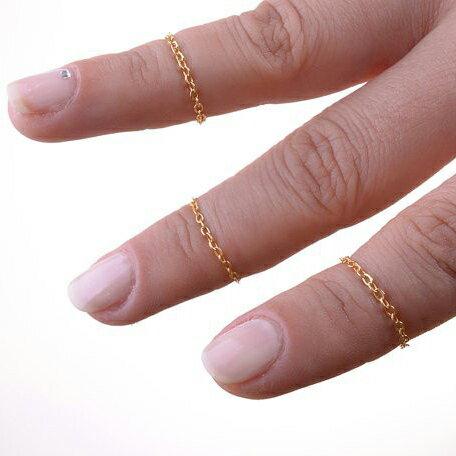 ゴールドチェーンリング 3本セット 指輪 ファランジリング チップリング メンズ レディース フォークリング ミディリング フィンガーリング シンプル 金のクサリ 鎖 関節の指輪 09号 指先の指輪 プレーン 金メッキ 結婚式 2次会 パーティ 女子会 入学式 成人式 ペアリング