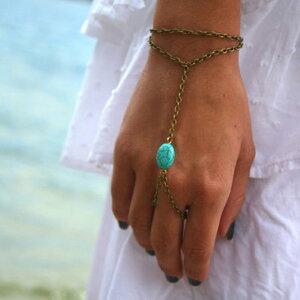 ターコイズフィンガーブレスレット フィンガーブレス ブレスレットと指輪をつなぐ メンズ レディース ジョイントリング ファランジリング ターコイズ トルコ石 天然石 インディアンジュエ