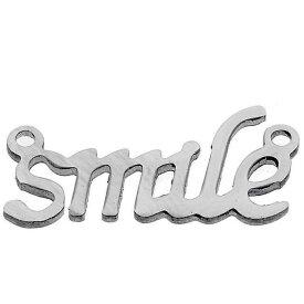 メッセージステンレスパーツ(smile)スマイル 笑顔 英語 アルファベット メッセージ サージカルステンレス316L ペンダント トップ ネックレス ボディピアス ピアス ブレスレット アクセサリー チャーム DIY イヤリング アンクレット メンズ レディース プレゼント