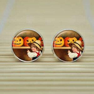 ハロウィンピアス(ハロウィン)/1個販売 メンズ レディース ペア かぼちゃと少年のピアス おもしろ 絵画のようなピアス キャッチピアス おもしろ 面白い オモシロ 仮装 ハロウィン ハロウ