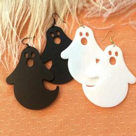 幽霊ピアス/1個販売 ゴースト 幽霊 オバケピアス ホワイト 白 黒 ブラック おもしろ 揺れる アメリカンピアス フックピアス 個性 アクリル 軽い メンズ レディース プラスティック ファッションピアス レギュラーピアス シングルピアス