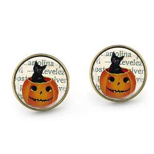 ハロウィンピアス(パンプキンキャット)/1個販売 かぼちゃ 黒猫 クロネコのピアス メンズ レディース ペア ジャックランタン ファッションピアス レギュラーピアス シングルピアス
