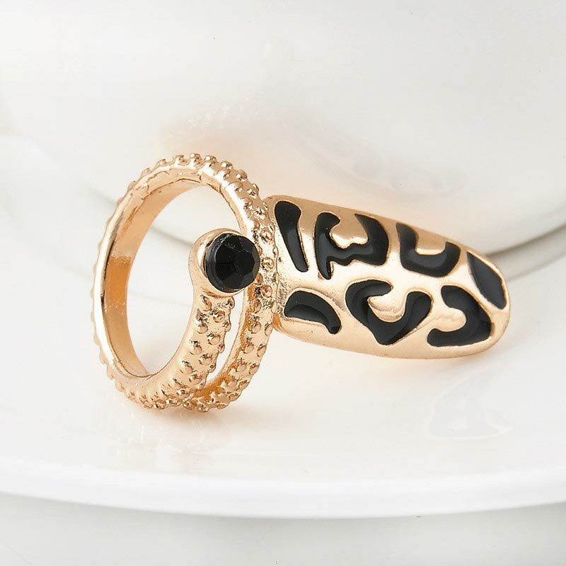 レパードネイルリング チップリング 指先の指輪 爪の指輪 ヒョウ柄 豹 ファランジリング ミディリング 関節の指輪 フォークリング レディース クリスタル ラインストーン キラキラ ゴールド 01号 小さいサイズ ゴールド 金メッキ 結婚式 パーティー クリスマス オモシロ