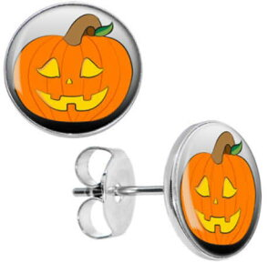 ハロウィンステンレスピアス(ジャックランタン)/1個販売 おもしろ かぼちゃ パンプキン サージカルステンレス316L 20G 20ゲージ レディース メンズ ペア用としても キャッチピアス 軟骨 耳