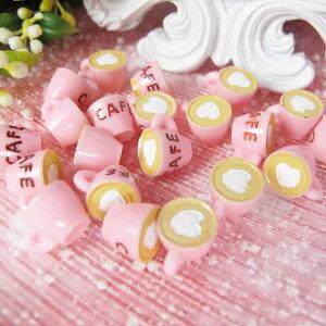 カフェラテアクリルパーツ(ピンク)/1個販売 食玩 おもしろ ユニーク 面白い 個性的 ピアス パーツ プラスティック イヤリング 貼り付け マグネットピアス チャーム ストラップ 食品サンプ
