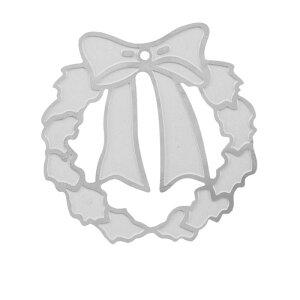 クリスマスステンレスパーツ(リース)/1個販売 りぼん サージカルステンレス ピアス イヤリング 部品 チャームパーツ 手作り フリマ ペンダント 金具 DIY 手芸 ハンドメイド デザインパーツ