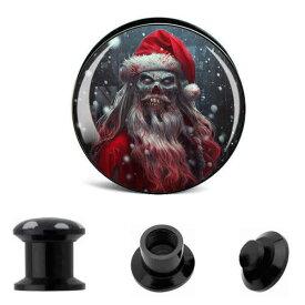 クリスマスプラグ(ゴーストサンタ) 2ゲージ 2G 0ゲージ 0G 00ゲージ 00G 12.0mm 12mm 14.0mm 14mm 16.0mm 16mm 18.0mm 18mm 20.0mm 20mm 22.0mm 22mm 25.0mm 25mm ボディピアス アクリル ダブルフレア ネジタイプ 樹脂 プラスチック メンズ レディース ブラック 黒色