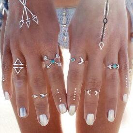 ボヘミアンファランジリング(6本セット) 指輪 チップリング メンズ レディース フォークリング ミディリング フィンガーリング インディアンジュエリー ターコイズ トルコ石 12号 14号 フリーサイズ 6個 指先の指輪 関節の指輪 民族 エスニック 夏 女子 男子 プレゼント