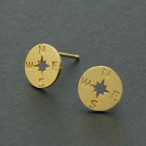 オリエンテーションステンレスピアス/1個販売 面白ピアス おもしろ 方位磁石 コンパス シルバー ピンクゴールド イエローゴールド サージカルステンレス316L 20G 20ゲージ レディース メンズ