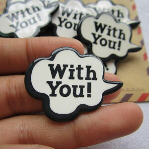 ふきだしアクリルパーツ(With You) 1個販売 メッセージ 英語 おもしろ ユニーク 面白い 個性的 アクセサリー ピアス パーツ プラスティック イヤリング 貼り付け マグネットピアス チャーム