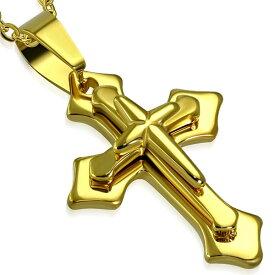 トリンプルクロスステンレスペンダント ゴールド 金メッキ 十字架 ロザリオ サージカルステンレス ネックレス トップパーツ メンズ レディース ペア パーツ チョーカー