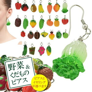 食品サンプルピアス/イヤリング(野菜&くだもの)1個販売 おもしろ ステンレスピアス イヤーカフ ユニーク 食玩 食品サンプル メンズ レディース ノンホールピアス フルーツ ベジタブル