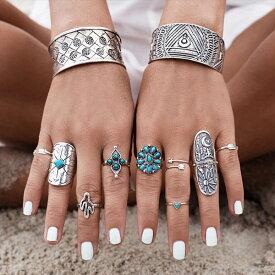 ボヘミアンカクタスファランジリング(9本セット) 指輪 ファランジリング チップリング メンズ レディース フォークリング ミディリング フィンガーリング ターコイズ トルコ石 インディアンジュエリー 12号 08号 フリーサイズ 10号 指先の指輪 関節の指輪 9個