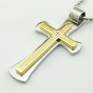 ダブルクロスゴールドペンダントトップ 十字架 金色 2重 サージカルステンレス ネックレス パーツ メンズ レディース トップ ペア アクセサリー チョーカー