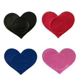 カラーハートニップルステッカー/1ペア販売 乳首 シール 貼るだけ 下着 ブラ ランジェリーアクセサリー レディース ダンサー 女子 バストトップ 大人 セクシー ニップレス 胸 おもしろ ダンス ピンク レッド ブラック ブルー 青色 赤色 黒色 水着 下着の下に 隠す