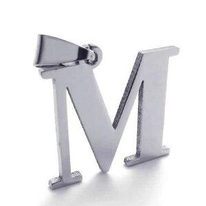 アルファベットペンダントトップ(M) イニシャル 英語 ロゴ サージカルステンレス316L ネックレス パーツ メンズ レディース トップ ペア ステンレスペンダントトップ ステンレスパーツ アク