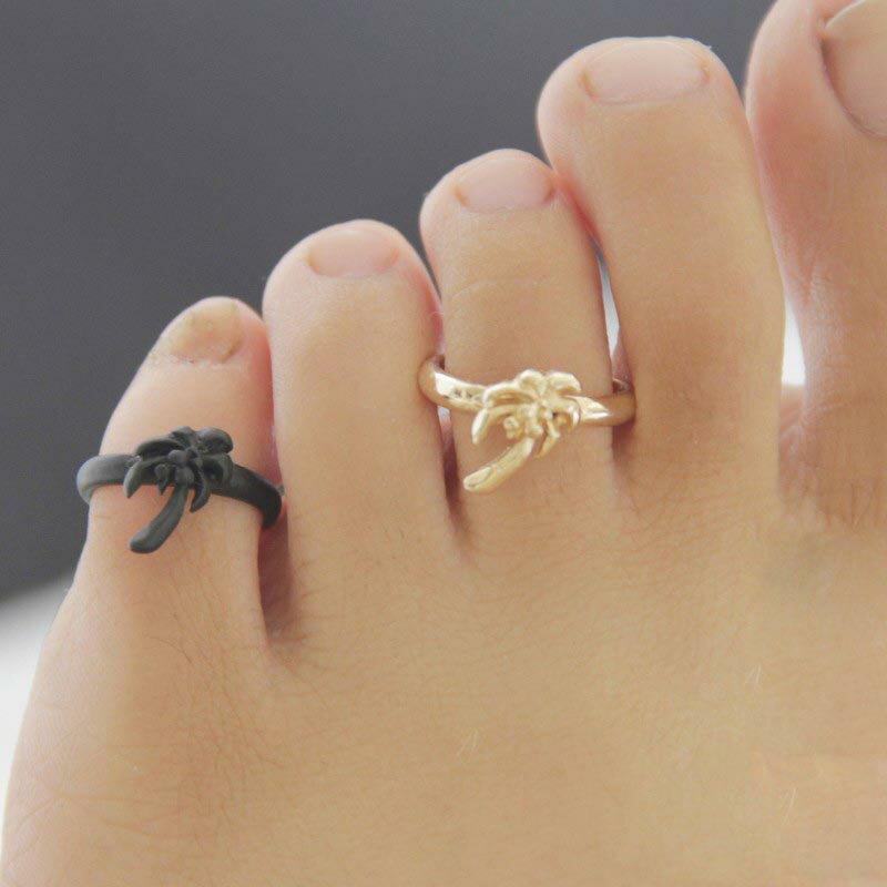 パームツリートゥリング 足の指輪 トーリング 足のリング ピンキーリング フリーサイズ レディース メンズ ヤシの木 ハワイアンジュエリー ブラック 黒色 ゴールド 金色 シルバー 銀色 チップリング ミディリング ファランジリング ミニリング サイズが小さい 足指輪