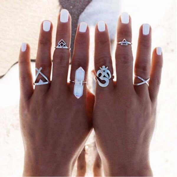 クリスタル梵字ファランジリング(6本セット) 指輪 ボヘミアン チップリング メンズ レディース フォークリング ミディリング フィンガーリング インディアンジュエリー 水晶 シルバー フリーサイズ 15号 シルバー 6個セット 夏 指先の指輪 関節の指輪 フィンガーリング