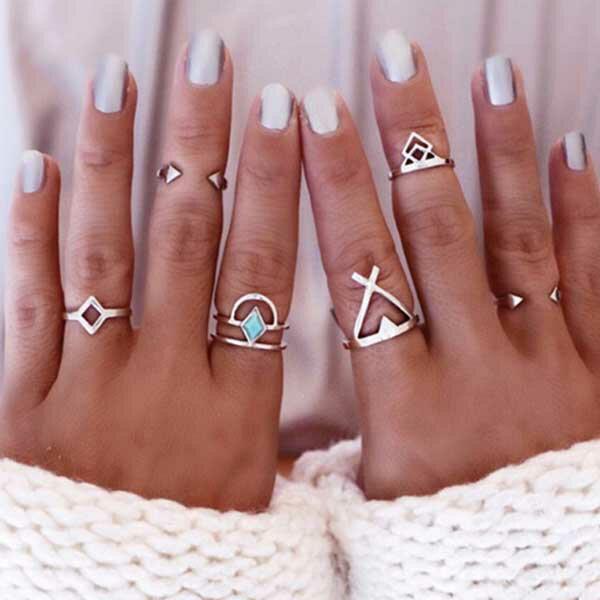 ボヘミアンヴィンテージファランジリング(6本セット) 指輪 ボヘミアン チップリング メンズ レディース フォークリング ミディリング フィンガーリング インディアンジュエリー トルコ石 ターコイズ 弓 シルバー フリーサイズ 17号 フリーサイズ 指先の指輪 関節