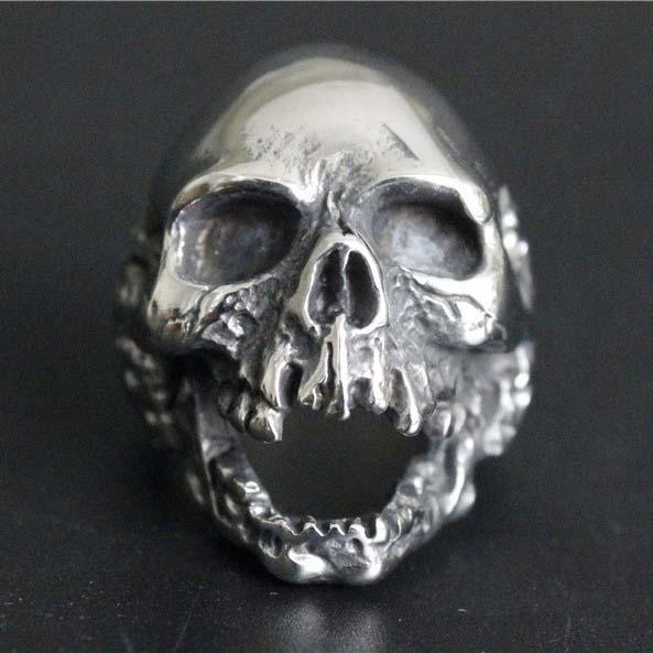 朽ち果てたスカルステンレスリング(RSG012)サイズ/32号不気味 ドクロ 骸骨 髑髏 骸骨 大きいサイズ ビッグサイズ ラージ おもしろ 面白い オモシロ サージカルステンレス316L メンズ レディース ペアリング プレゼント ギフト 誕生日 親指の指輪 人差し指