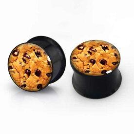 [ 面白い ボディピアス サージカルステンレス ダブルフレア プラグ] チョコチップクッキー 2G 2ゲージ 0G 0ゲージ 00G 00ゲージ 12mm 12.0mm 12ミリ おもしろ オモシロ メンズ レディース 黒色 ボディーピアス ホワイトデー チョコレート お菓子 スイーツ バレンタインデー