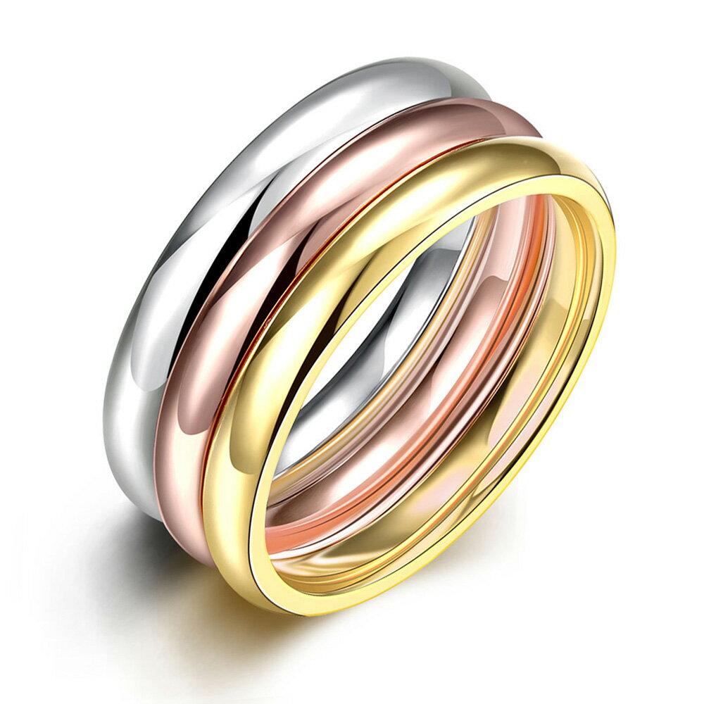 サージカルステンレス316L 3連 ステンレスリング(VRR207) サイズ/15号/21号/28号 シルバー イエローゴールド ピンクゴールド 細い スリム 3個 指輪 メンズ レディース ペアリング プレゼント ギフト 結婚 婚約 記念日 誕生日 ピンキーリング ファランジリング