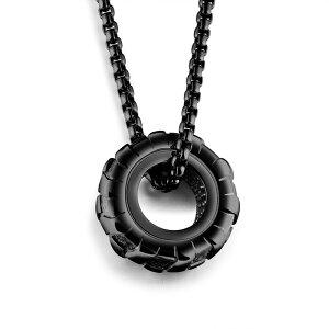 ブラックタイヤステンレスネックレス(60cmのステンレスチェーン付き) 太め 長め ネックレスチェーンつき ペンダントトップ サージカルステンレス316L メンズ レディース チョーカー 首飾り 3D
