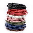 太さ 4mm [DIY用 編み込み 丸革紐] 編み込みレザーロープ /10cm単位 皮ひも 手作り ハンドメイド用 レッド 赤色 ブラ…
